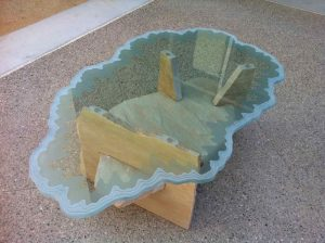 Sans Soucie Glass Coffee Tables Carved and Etched iceberg