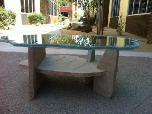 Glass Coffee Tables Carved and Etched iceberg by Sans Soucie