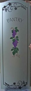 Sans Soucie Pantry Door Inserts with Carved and Painted Glass grapes