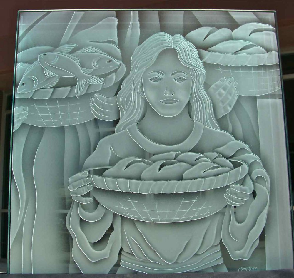 Glass Sample Craved Etching biblical Miracle of the Loaves and Fish by Sans Soucie