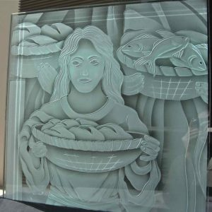 Etched and Carved Glass Sample biblical Miracle of the Loaves and Fish by Sans Soucie