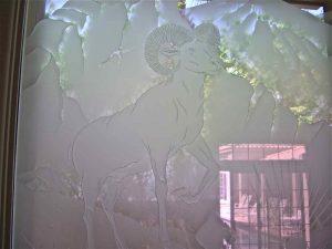 frosted glass western decor mountain goats horns big horn sheep sans soucie