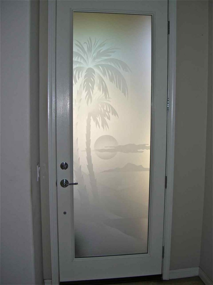 Palm Sunset 2d Private Glass Door Inserts Sans Soucie