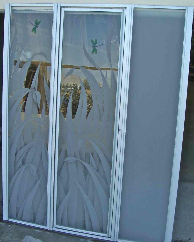 Rds & Drgly Gls Shr Enclosures Etched Glass Tropical Style