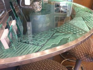 Sans Soucie Bar Top with Carved Etched and Edge Lit Glass Modern