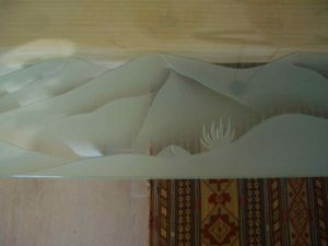 Table Tops with Carved Glass Border mountains by Sans Soucie