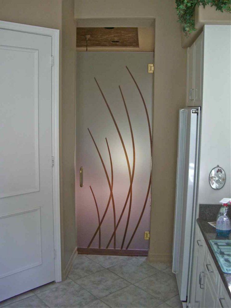 Interior Frameless Glass Doors Carved and Painted Modern Art Decor by Sans Soucie