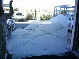glass shower enclosures etching glass rustic design landscape mountains abstract hills sans soucie
