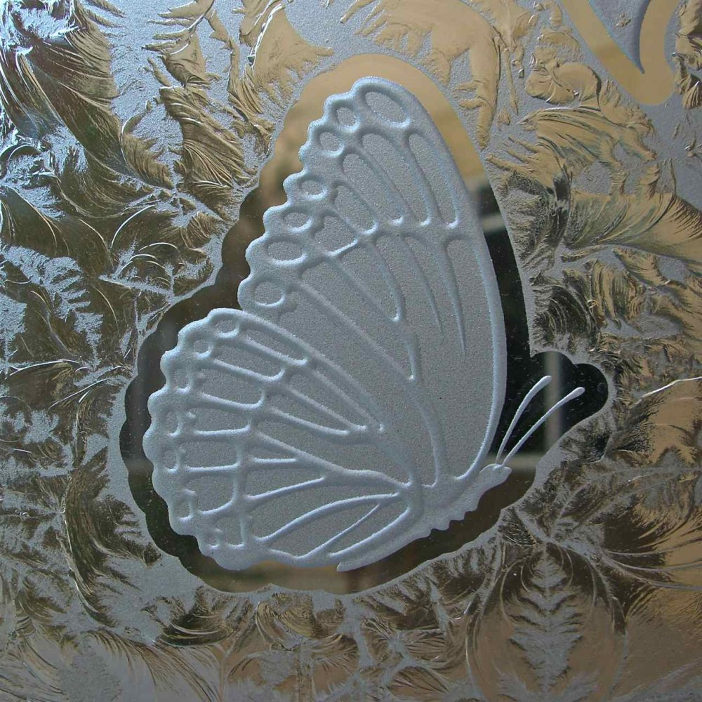 Butterfly Carved In Glass Decorative Frosted Etched