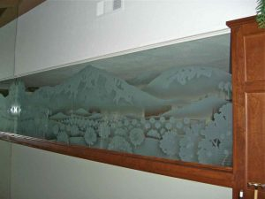 Sans Soucie Partitions with Etched and Carved Glass Landscape