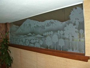 Partitions with Carved and Etched Glass Landscape by Sans Soucie