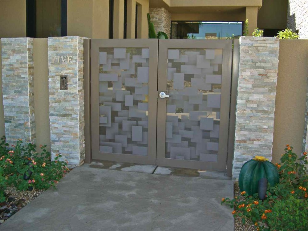 Bronze Gate Glass Inserts Etched Frosted Overlapping