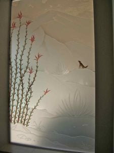 glass window frosted glass plants blossoms ocotillo desert coyote ll sans soucie