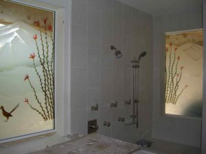 glass window painted glass western design landscape birds ocotillo desert coyote ll sans soucie