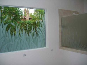 glass window frosted glass tropical style leaves nature reeds & hummingbirds ll sans soucie