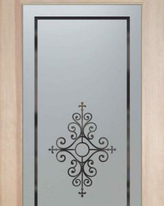 Pantry Doors with Solid Etched Glass by Sans Soucie