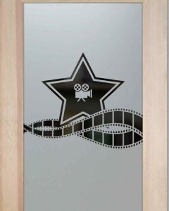 Glass Doors Theater Hollywood Star Film Strip Etched Door