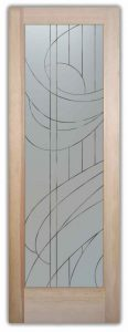 etched glass door frosted streamers geometric swirl lines