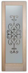 Etched Glass Doors Ironwork Wrought Iron Frosted Door