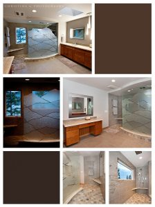 glass shower enclosures sandblasted glass rustic design snowy peaks abstract hills sans soucie