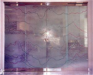 etched frameless carved glass doors irregular lines pattern<br />