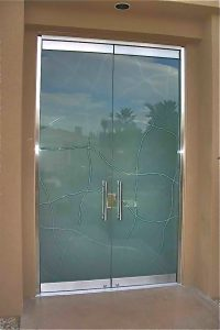 Frameless Entry Doors Carved and Etched by Sans Soucie