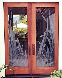 Sans Soucie Door Inserts with Etched and Shaded Glass
