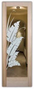 interior glass doors glass etching tropical style nature outdoors banana leaves sans soucie