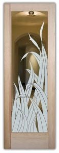 interior doors with glass etching sandblasted glass tropical design natural foliage reeds sans soucie