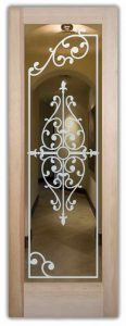 interior glass doors custom glass Tuscan decor intricate shapes delicate Barcelona ll sans soucie