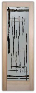 Abstract decorative etched glass door