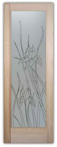 glass doors interior frosted glass door iris flower etched panels