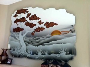 Decorative Mirror Etched Carved and Painted Asian brown bonsai by Sans Soucie