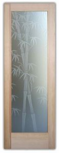 Interior Glass Doors Etched Glass Asian Decor Bamboo Shoots Foliage