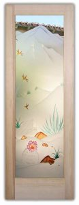 Glass Front Doors Etched Glass Desert Scene Barrel Cactus Agave