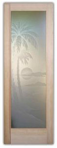 Exterior Glass Doors Etched Glass Beach Decor Palm Trees Sunset Coastal Decor