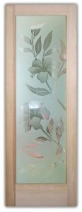 interior glass doors etched glass tropical decor hibiscus flowers beach coastal