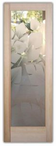 Interior Glass Doors Etched Glass Tropical Decor Banana Leaves