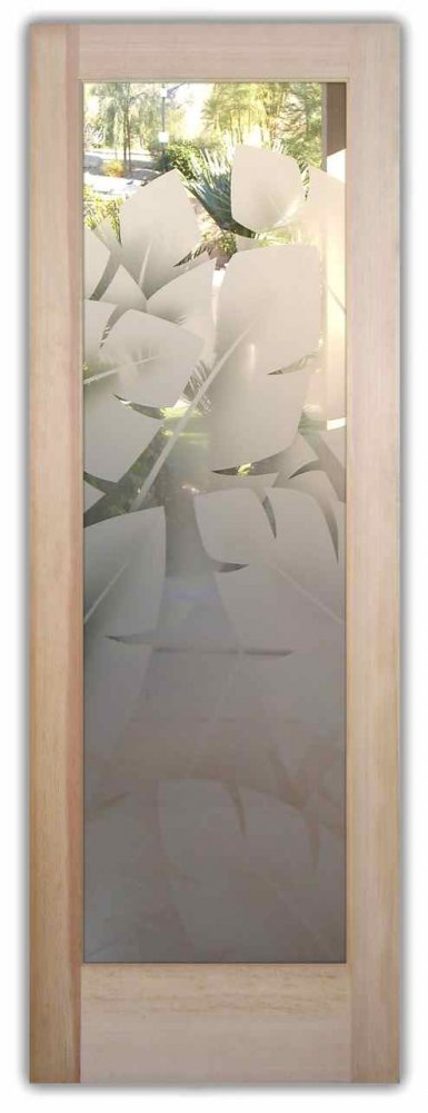 Banana Leaves 2d Etched Glass Doors Tropical Decor