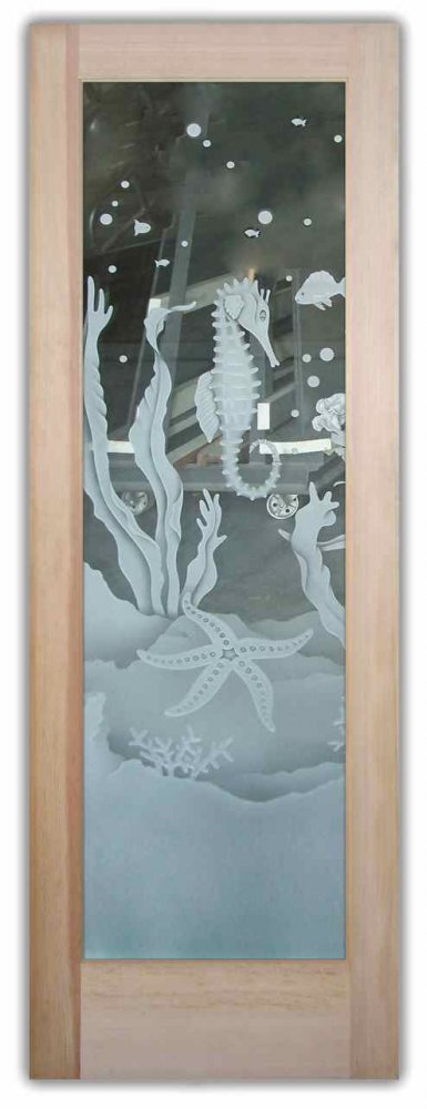 Glass Front Doors Etched Sea Ocean Starfish Sea Horses