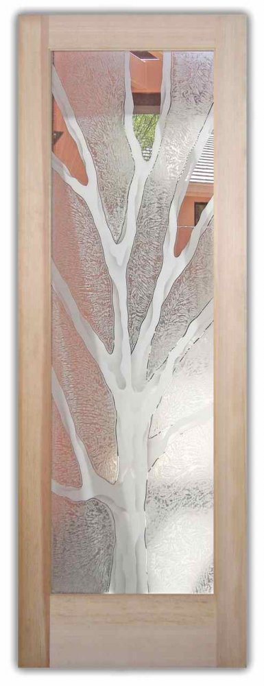 interior glass doors etched glass rustic decor tree branches