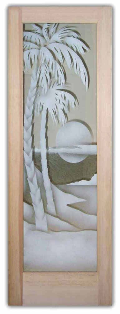 interior glass doors etched glass tropical decor palm trees sunset scene