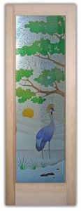 Glass Front Doors African Crane Bird Blue Painted Glass Door