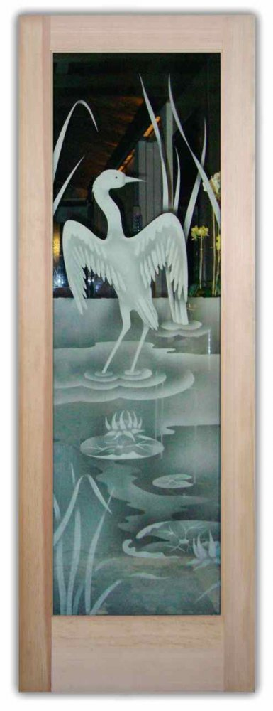 Entry Doors Etched Glass Asian Wildlife Rustic by Sans Soucie