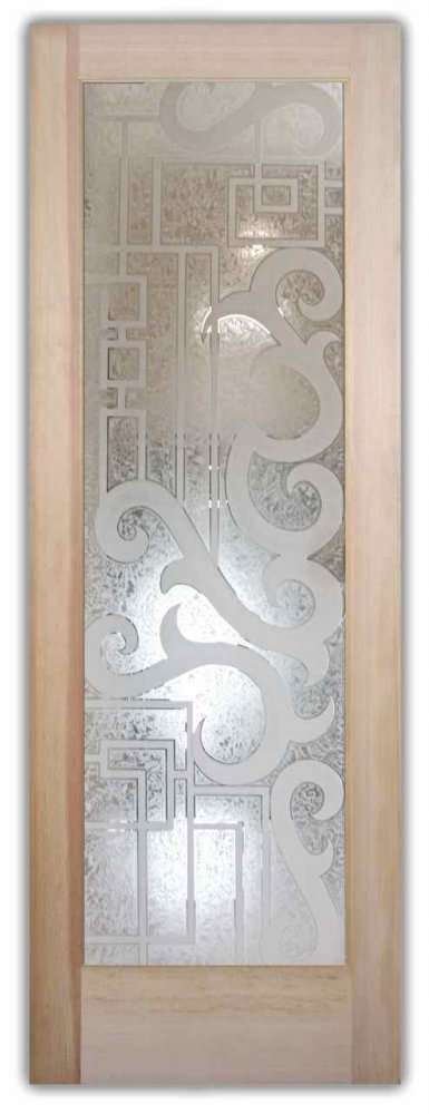 Decorative Floral Glass Shower Door Glass Doors Etched Glass Art Deco Style Eclectic Decor