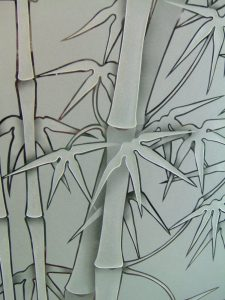 frosted glass asian decor bamboo stalks etched