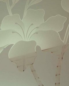 etched glass tropical decor hibiscus flowers beach coastal