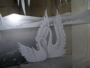 Sans Soucie Entry Doors with Etched and Carved Glass English Country swan