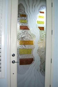 Interior Glass Doors Etched Glass Eclectic Style Rustic Decor Waves