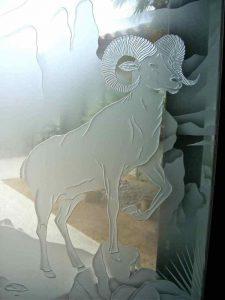bighorn sheep etched glass desert design carved